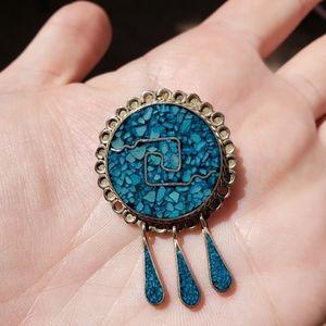Genuine Alpaca Silver Turquoise Pendant Brooch